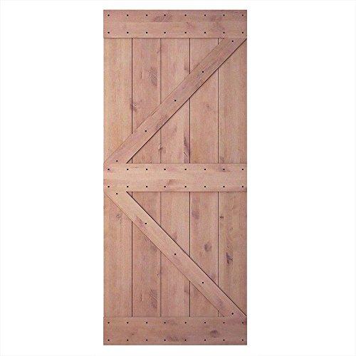 36in 84in Natural Knotty Alder Shiny Interior Sliding Barn Door Slab(Disassembled&Pre-Grooved),Arrow