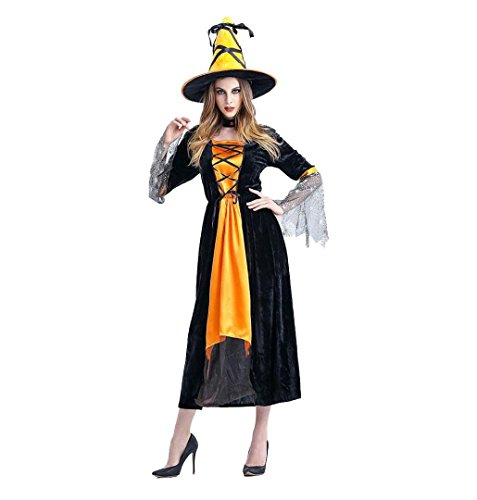 Cute Plus Size Witch Costumes (Halloween Party Costume+Hat ❄Crystell❄ Plus-Size Elegant Witch Women's Vampiress Costume (Yellow))