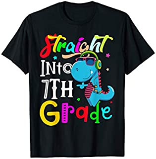 Straight Into 7th Grade shirt Back to School Dinosaur tee T-shirt | Size S - 5XL
