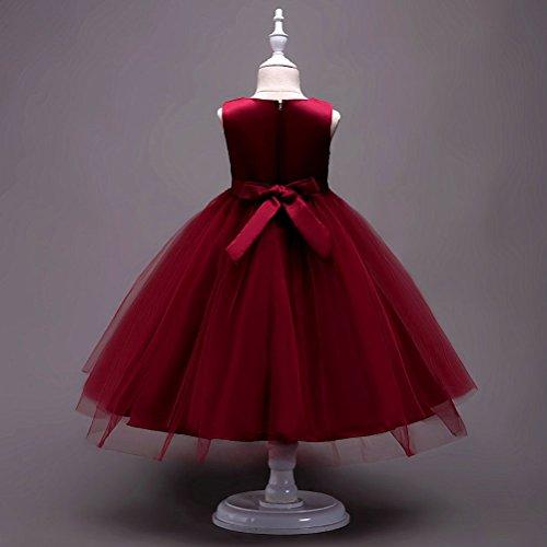 Rosso Elegante Damigella D'onore Ricamata Zhuhaitf Seta Sposa Concorso Da Di Del Annata Compleanno Ragazze Di Di Festa Abito Formale Vino Fiore qw0xER1