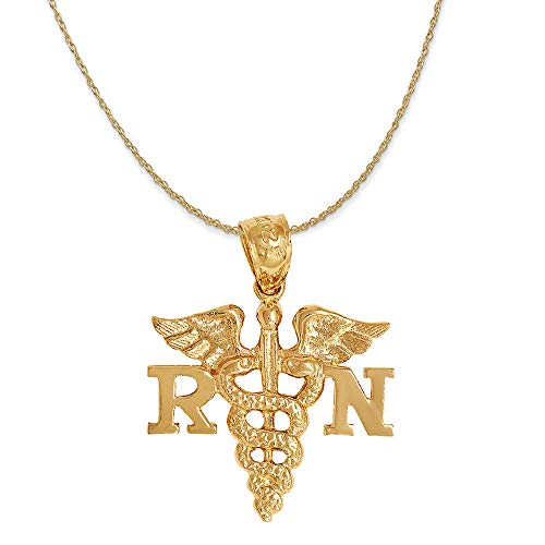 14K Yellow Gold Registered Nurse (RN) Symbol Pendant on a Rope Style Chain Necklace, 20
