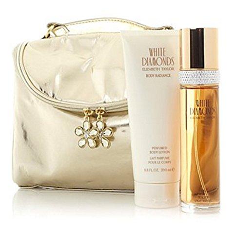 Elizabeth Taylor White Diamonds Layering Set Plus Cosmetic Bag - Elizabeth Taylor White Diamonds Perfumed Body Cream