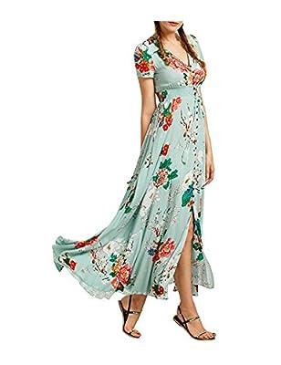 Women's Bohemian Button Up Split Floral Print Short Sleeve V-neck Party Maxi Dress