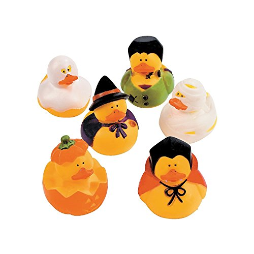 Fun Express Halloween Vinyl Rubber Duckies | 2-Pack (24 Count) | Great for Themed Party Favors and Decorations -