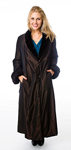 (Reversible Sheared Mink Fur Coat with All Weather Lining (Black,S))