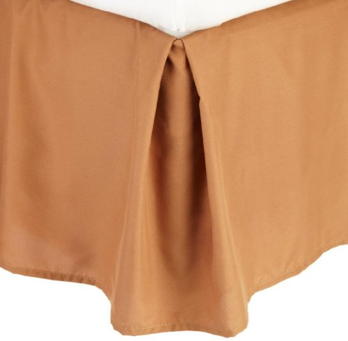 - Clara Clark ® Grand 1200 Collection Solid Bed Skirt Dust Ruffle, Queen Size, Bronze Mocha Light Brown