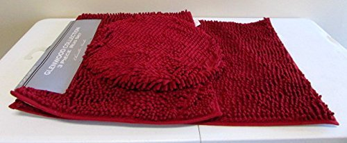 Chenille 3 Piece Set (Popular Home The Glenwood Collection Shaggy Chenille 3-Piece Rug Set, Burgundy)