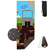 SARA NELL Yoga Mat Retro Video Game Design Printed Hot Yoga Mat With Carry Strap And Carry Bag Extra Large Non-Slip Exercise Mat 71''X 24''X 0.25''
