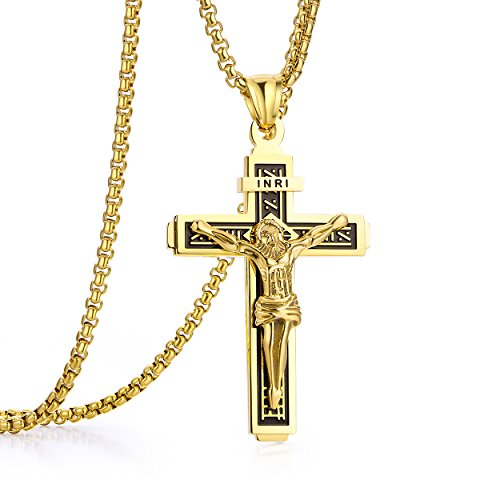 Crucifix Christ Jesus (ADoor Jesus Christ on INRI Crucifix Stainless Steel Cross Pendant Necklace for Men Women 24