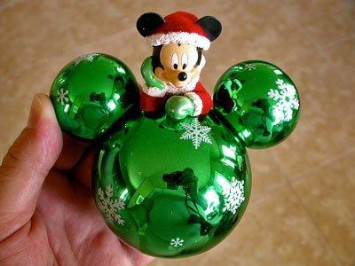 (Disney Park Mickey Mouse Santa on Green Ears Christmas Ornament NEW)