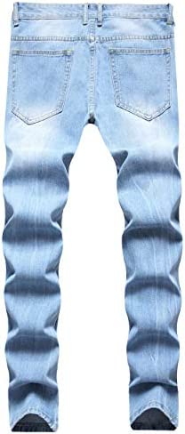 41FD VOEERON Men's Distressed Ripped Jeans, Relaxed Slim Regular Straight Fit Denim Pants    ImportedZipper closureMachine WashTrendy ripped distressed design, let you have a high-end fashion lookSoft cotton material comfortable and skin friendly breathable and durableSlim straight leg classic fit 5 pockets design more styling ideas