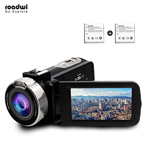 Digital Video Camera, Roadwi Camcorder HD 1080P 24.0MP 16X Powerful Zoom 3.0″ LCD 270 Degree Rotatable Screen Digital Camera Recorder as Better Gift Choice with Hot Shoe Adapter (Two Battery Included)
