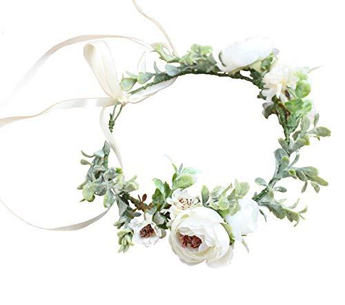 (Vivivalue Boho Flower Crown Flower Garland Headband Hair Wreath Floral Headpiece Halo with Ribbon Wedding Party Photos Festival White)