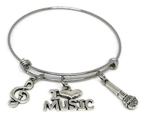 Music Stainless Steel Charm Bracelet - I Love Music Bangle - Musician Jewelry Gift
