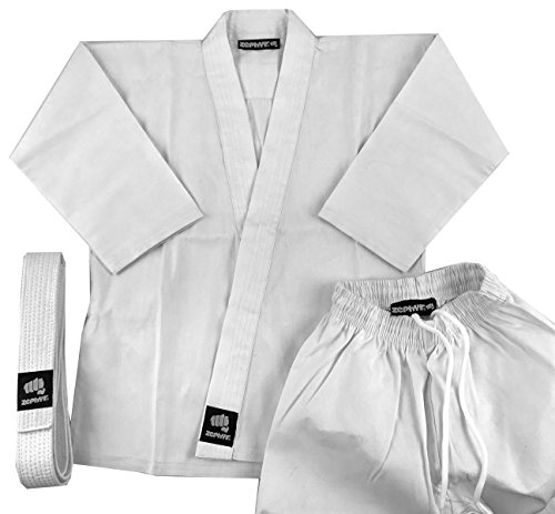 Zephyr Martial Arts Karate Gi Student Uniform with Belt - White - 1