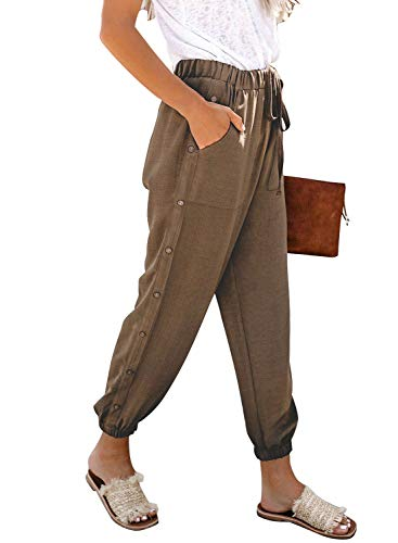(Sidefeel Women Casual Elastic Waist Cropped Drawstring Pants with Pockets Large Brown)