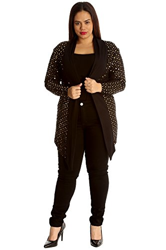 Collection Dot Ladies Cardigan Foil Size Womens Open Front New Party Sale Plus Jacket Gold Nouvelle Polka 6qAw4fY