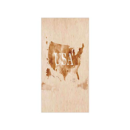 (3D Decorative Film Privacy Window Film No Glue,Americana,Early American Retro Map of The Country Southwest and Alaska Image Print,Peru Brown White,for Home&Office)