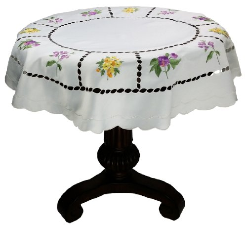 Xia Home Fashions Bouquet Embroidered Cutwork Spring Table Topper, 36 by 36-Inch by Xia Home Fashions