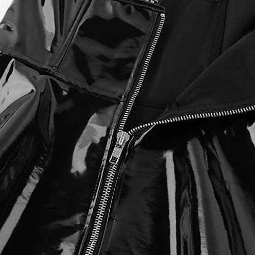 FEESHOW Women PVC Leather Sleeveless Front Zipper Corset Mini Dress Clubwear