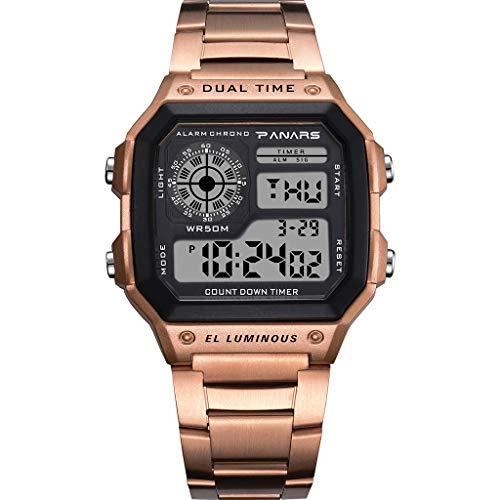 Electronic Watch Men's Waterproof Multi Function Sports Watch Square Fashion Electronic Watch (rose gold) ()
