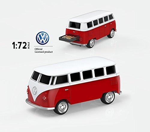 mosDART Cool 16GB USB2.0 Flash Drive Jump Drive Zip Drive Classic Volkswagen T1 Bus 1:72 Scale (VW Bus,Red)