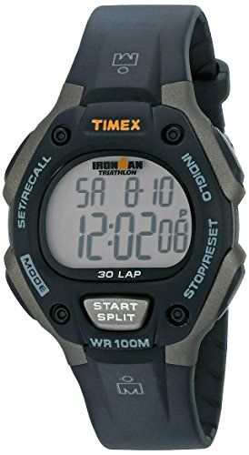 Timex Men's T5E901 Ironman Classic 30 Full-Size Black/Gray Resin Strap Watch Best Selling Timex