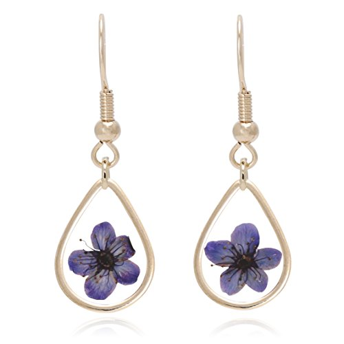 BONALUNA Pressed Flower Yellow Gold Plated Tear Drop (Gold Plated Flower Necklace Earrings)