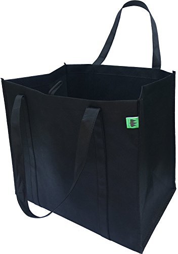 Reusable Grocery Bags (5 Pack, Black) - Hold 40+ lbs - Premium Quality, Extra Large & Super Strong, Heavy Duty Shopping Bags - Tote Bags with Reinforced Handles & Thick Plastic Bottom for Strength
