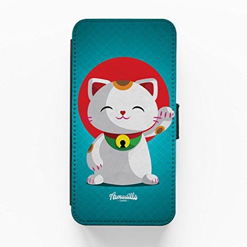 Kawaii Maneki Neko Hochwertige PU-Lederimitat Hülle, Schutzhülle Hardcover Flip Case für iPhone 6 Plus / 6 Plus vom DevilleArt + wird mit KOSTENLOSER klarer Displayschutzfolie geliefert