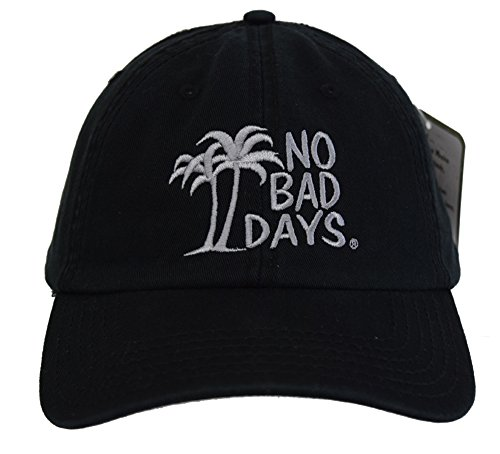 - No Bad Days Garment Washed Superior Combed Cotton Twill Six Panel Cap - Black