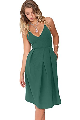 Eliacher Women's Deep V Neck Adjustable Spaghetti Straps Summer Dress Sleeveless Sexy Backless Party Dresses with Pocket (S, Green Blue)]()