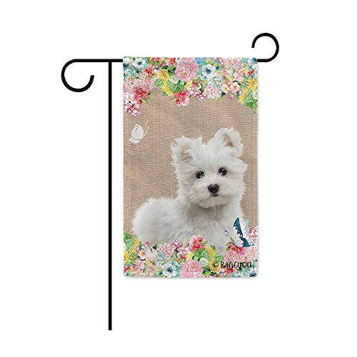 BAGEYOU Hello Spring Flowers with My Love Dog Maltese Decorative Outdoor Garden Flag Cute Puppy Summer Floral Seasonal Banner 12.5X18 Inch Print Double Sided