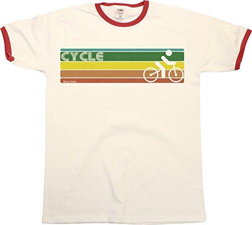 Retro CYCLING Strip Mens RINGER T-Shirt Retro Style