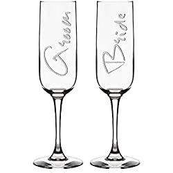 Set of 2 Wedding Champagne Flutes for Bride & Groom | Wedding Favor - Toasting Glasses