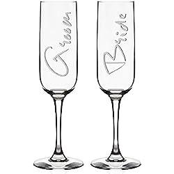 Set of 2 Wedding Champagne Flutes for Bride & Groom | Wedding Favor - Toasting Glasses