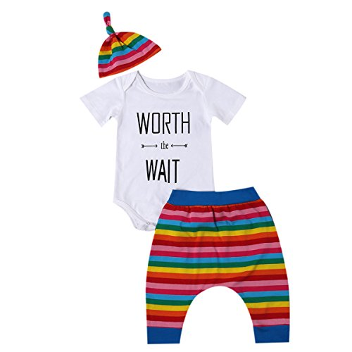 3pcs Newborn Baby Boy Girl Rainbow Tops Romper+Long Pants Hat Outfit Set Clothes