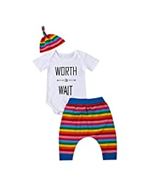 3Pcs Baby Boy Girl Clothes Rainbow Romper + Pants + Hat Outfit Set