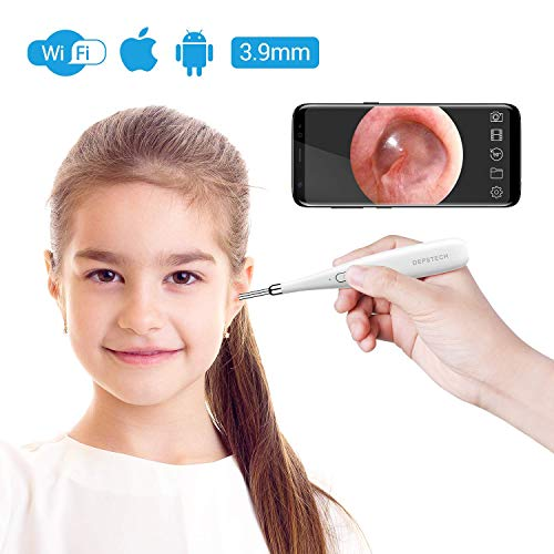 DEPSTECH Wireless Otoscope, 3.9mm Ultra-Thin WiFi HD Ear Inspection Camera, Ear Scope Earwax Mite Cleaning Tool with 6 Adjustable LED Lights for iPhone, iPad & Android Smart Phones