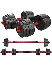 Halters met verstelbare Gewichten Halters voor bodybuilding 3 in 1 dumbbells met rechte en gebogen verbindingsstangen Barbell Gym Fitnessapparatuur 10KG 20KG 30KG 40KG 50KG