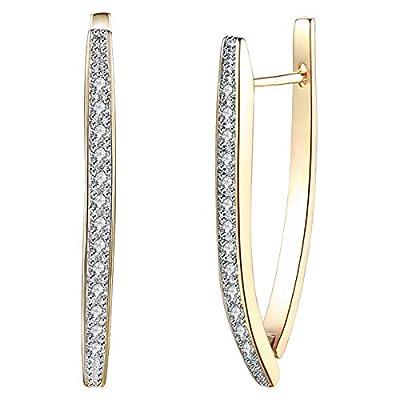 14K Gold Plated Cubic Zirconia Hoop Earrings for Women Girls Fashion CZ Earrings