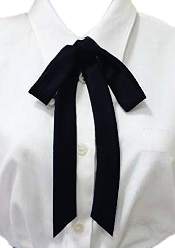 YABINA Ladies Long Pre Bow Tie Solid Color Bowtie for Women (Black)