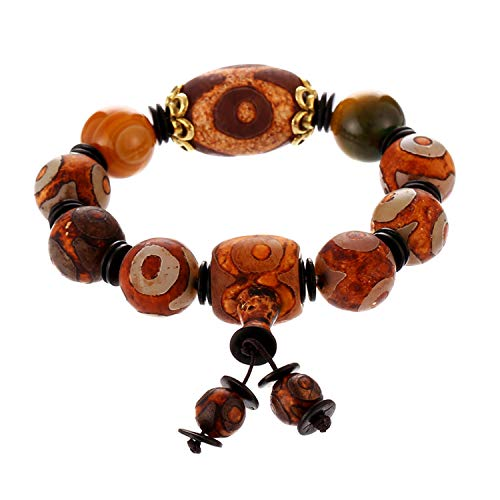 Prime Fengshui Protective Natural Tibetan 3 Eye Dzi and Yellow Beads Bracelet Amulet Bangle Attract Positive Energy and Good Luck