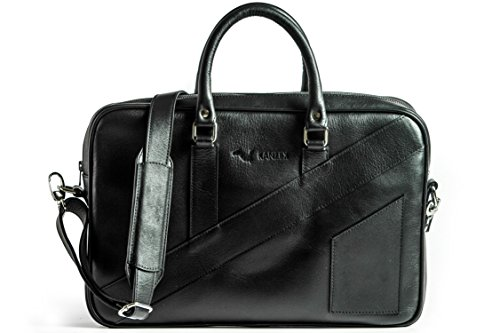 KANZEK Black Luxury Full Grain Leather Laptop Briefcase / Executive Shoulder Messenger Bag, 15.6