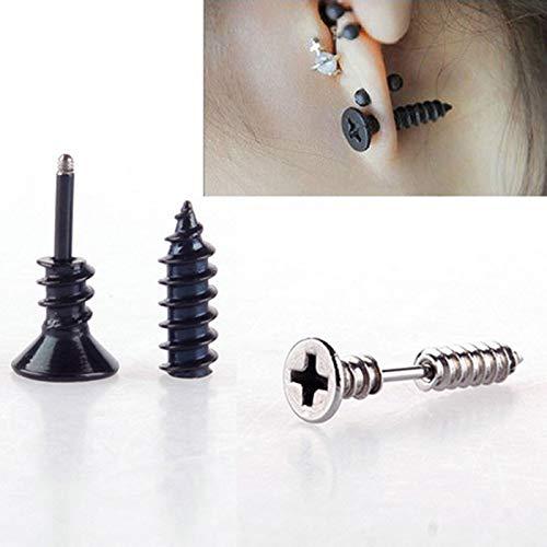 Gbell Clearance! Fashion Men Women Punk Screw Earrings - Fine Stainless Steel Whole Screw Stud Earrings for Teens Boys Girls Unisex,0.98