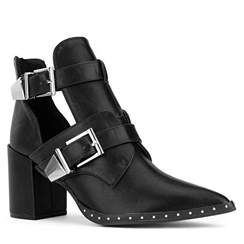 Studded Short Boot - RF ROOM OF FASHION Women's Pointy Toe Cutout Double Buckle Stacked Heel Ankle Boots Black Size.6
