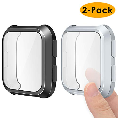 EZCO Screen Protector Case Compatible with Fitbit Versa (2-Pack), Soft TPU Plated Bumper Case All-Around Protective Screen Cover Shell Compatible Versa Smart Watch