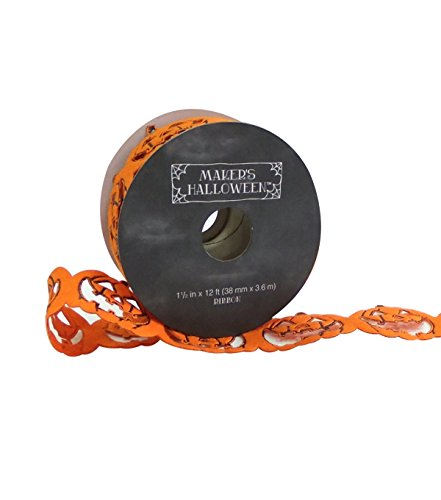 Maker's Halloween Ribbon 1.5'' x 12' Orange & Black Pumpkin Border by Makers Halloween