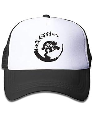 Bonsai Tree in Enso Circle Birds On Children's Trucker Hat, Youth Toddler Mesh Hats Baseball Cap