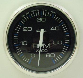Faria 33710 Chesapeake Black 6000 rpm Tachometer by Faria